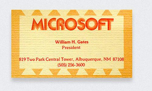 визитка Билла Гейтса