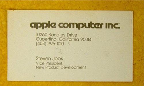 визитка Стива Джобса