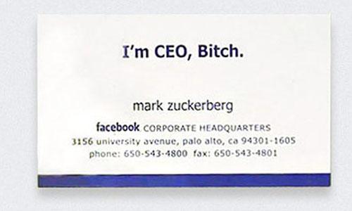 визитка Марка Цукерберга