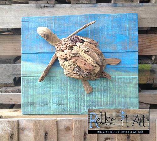 черепаха из коряги изготовленная, reuseit-art
