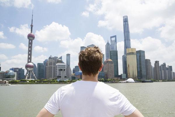 вид на шанхайский торговый центр