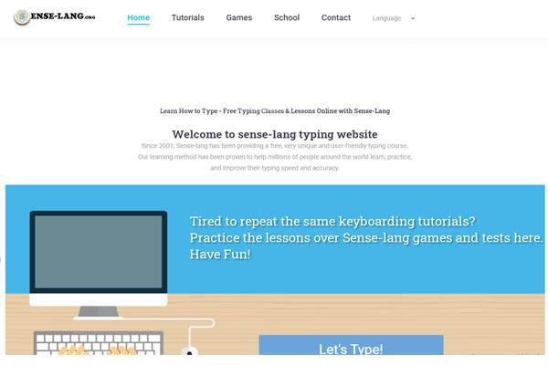 sense-lang - программа обучения печати на клавиатуре онлайн для детей